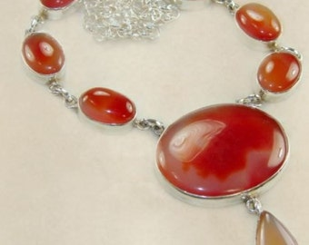 Sale: Carnelian and Sterling Silver Necklace