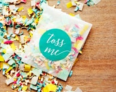 Wedding Confetti Send Off - Personal Confetti in OCEAN BREEZE - Confetti Toss Packet with Toss Me Sticker - 25 finished confetti packets
