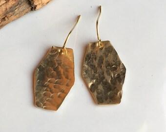 Hammered Earrings, Dangle Earrings, Brass Earrings, Metalwork Earrings, Barrell Earrings, Etsy, Etsy Jewelry, Hammered Brass