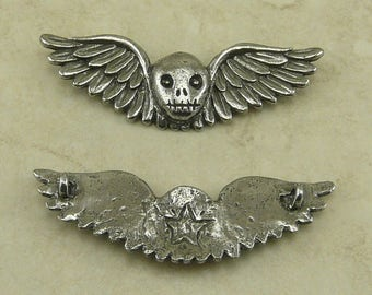 Winged Skull Green Girl Pendant Day of the Dead Dia de los Muertos Skeleton Halloween Goth American Artist Made Lead Free Pewter Silver 460