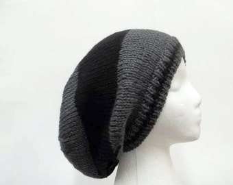 Slouchy hat, black gray stripes, womens hats, mens hats, oversized beanie