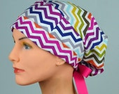 50% OFF CLEARANCE SMALL Surgical Scrub Cap - Perfect Fit Tie Back with Ribbon Ties - Multi Chevron
