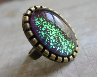 Prism Collection: The Spellcaster - Color-shifting Iridescent Glitter Adjustable Ring