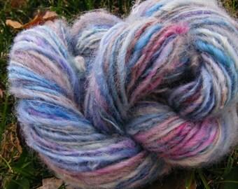 BLUE MOON Handspun Wool Yarn Coopworth Yearling Fleecespun 105yds 2.5oz 8wpi aspenmoonarts knitting artyarn pink yellow