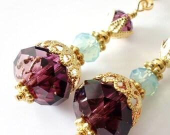 Amethyst Crystal Earrings, Pacific Opal, Purple, Aqua, Gold Earrings, Drop Earrings, February Birthstone, Beaded Earrings, Beaded Jewelry