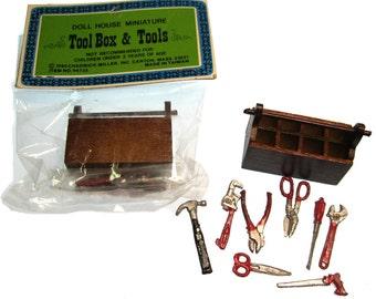 Vintage Dollhouse TOOL BOX and TOOLS Miniature Set