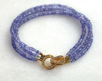 Sparkling Tanzanite Triple Strand, Rhinestone Clasp Bracelet..
