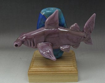 ON SALE Handmade Lampwork Glass Shark Focal Bead by Jason Powers SRA