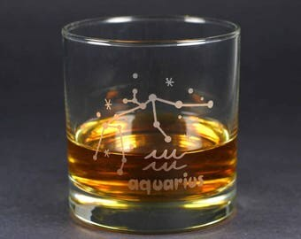 Aquarius Zodiac Constellation lowball glass