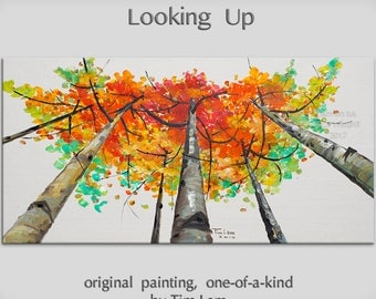 Original abstract painting oil painting Tree art Looking Up forest on gallery wrap canvas Ready to hang by tim Lam 48x24