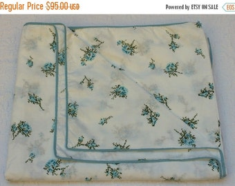 HOLIDAY SALE - New Vintage Duvet Cover - Cotton - Blue Roses  - New Twin Full Queen NIP Nos Comforter Cover