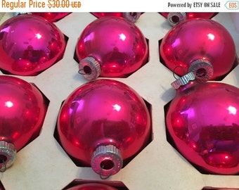 BIG SALE - Vintage Shiny Brites Pink Christmas Tree Ornaments - Bright Pink Holiday Ornaments - Vintage Christmas