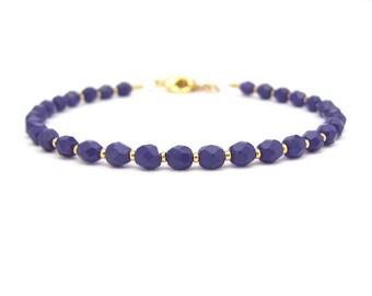 Purple Bracelet, Czech Glass Bracelet, Dark Purple, Yoga Zen Jewelry, Stack Layer, Purple Friendship Bracelet, Gift under 15, Gift for Her