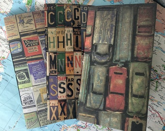 3 x Junk Journal Traveller's Notebook Inserts - Fauxdori - Midori Compatible - Vintage Travel Theme Car Americana 21 x 11 cm