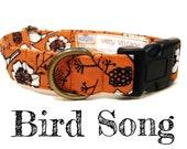 "Vintage Inspired Collar - Coral Bird Flowers Dog Collar - Girl Dog Collar - Shabby Chic Dog Collar - Antique Brass Hardware - ""Bird Song"""