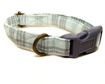 Mint Julep - Mint Green Gray White Girly Plaid Rustic Country Organic Cotton CAT Collar Breakaway Safety - All Antique Brass Hardware