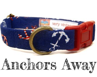 "Whimsical Navy Blue Anchors Summer Preppy Nautical Dog Collar - Antique Brass Hardware - ""Anchors Away"""