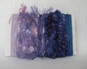 Art Yarn Bundle Purple Blue Lavender Fiber Embellishments 1514