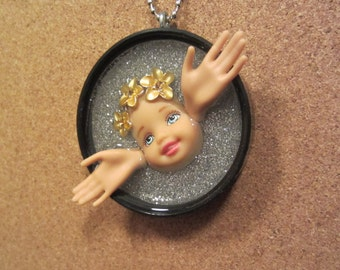 Angel in Flight -  Upcycled Doll Pendant