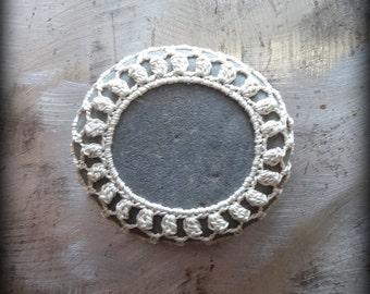 Crocheted Lace Stone, Small, Handmade, Ecru Thread, Table Decorations, Home Decor, Gray, Unique Gift, Monicaj