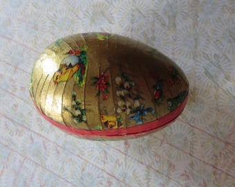 Vintage Easter Egg Candy Container Ornament, Paper Mache with Gold Pattern Paper with Flowers and Chicks, Made in Western Germany For Easter