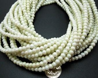 100 Cream AB Glass Beads 4mm (H2268)