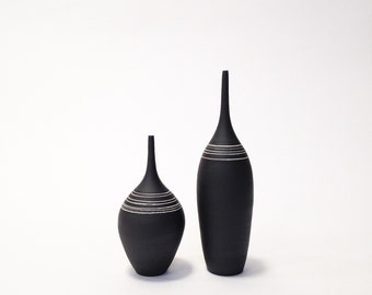 MADE TO ORDER-  2 medium black and white striped ceramic stoneware bottle vases by sara paloma . modern pottery vase ceramic stoneware
