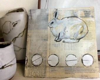 Hand painted, Bunny Wall Art, Small Home Decor