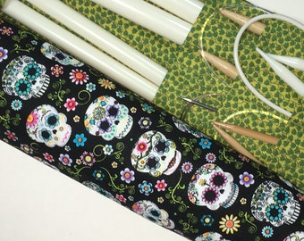 knitting needle case - knitting needle  organizer - circular  knitting needle case  - colorful sugar skulls 36 pockets