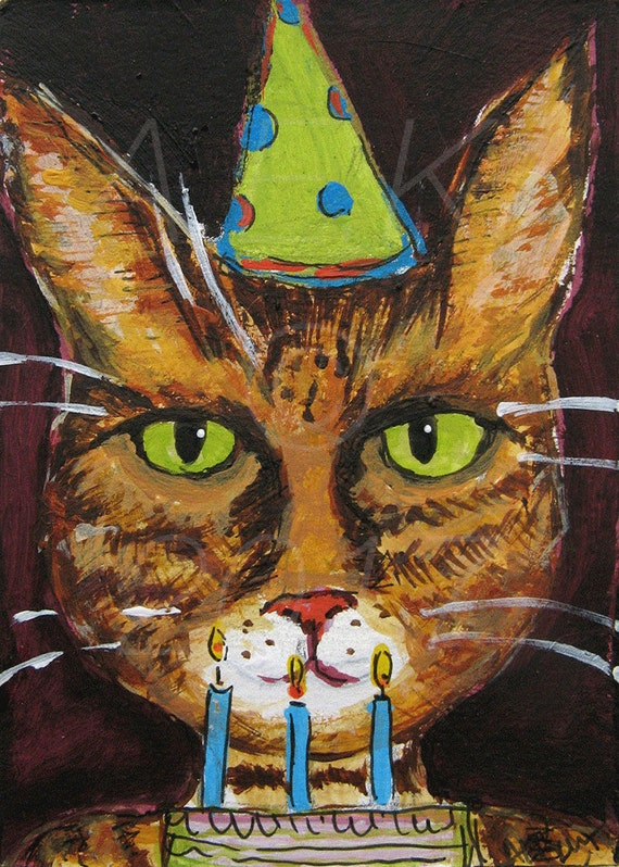 Funny Tiger Cat with Birthday Cake  Art  - ACEO Original Painting - Chet is a Pyromaniac - Cat Birthday - Funny Cat Art - Gift for Cat Lover