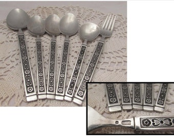 6 Pieces Vintage Gorham Stainless Steel Flatware, 60s, Hacienda pattern, Serving Spoon, Soup Spoons, Teaspoon, Fork, utensils