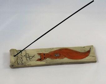 Handmade Ceramic Incense Holder - Meditating Fox with tea cup
