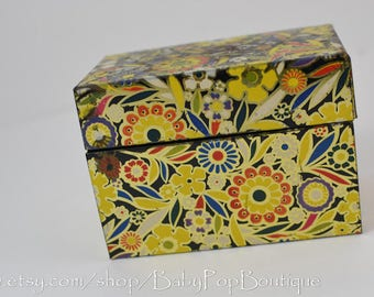 Vintage Retro J Chein Metal Recipe File Box Flowers Gold Highlights USA Midcentury Kitchen