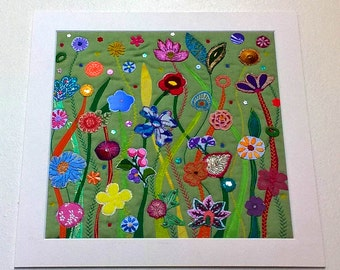 Original Textile / Fiber Art Flower Garden - Mounted and ready to Frame - Wall Art Quilt