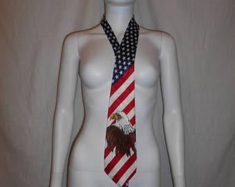 Closing Shop Sale 45% Off Vintage Neck tie, Endangered Species Bald Eagle American Flag Tie
