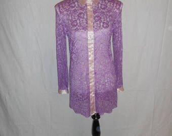 Vintage 80s 90s floral lace dress  sheer    hand dyed purple         womens women clothing clothes      size 12