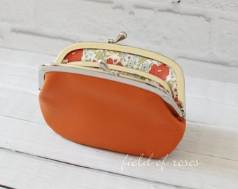 Women's Leather Wallet with Divider Orange Liberty of London Floral Lining