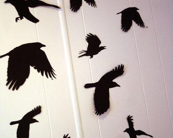 3d wall decor flying ravens wall decor halloween party decorations custom wall art - Halloween Crow Decorations