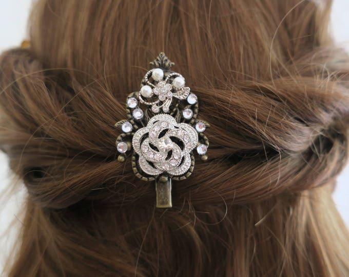 Wedding Hair Clip Bridesmaid Hair Pin Crystal Pearl and Rose Bridal Accessories