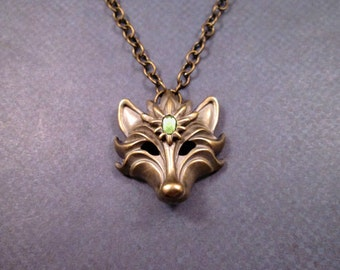 Wolf Necklace, Brass She-Wolf with Green Rhinestone, Pendant Necklace, FREE Shipping U.S.