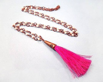 Tassel Necklace, Hot Pink Tassel Pendant, White Glass Beaded Copper Chain Necklace, FREE Shipping U.S.