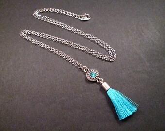 Rhinestone and Tassel Necklace, Aqua Blue Glass Rhinestone and Rayon Tassel Pendant, Silver Chain Necklace, FREE Shipping U.S.