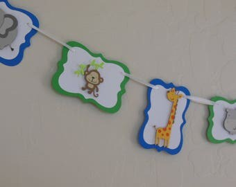 Safari or Zoo Animal Banner or Garland - Blue and Green - Baby Shower Decoration - Child Birthday Party Decoration - Nursery Decoration