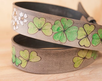Leather Belt - Handmade Belt with Shamrocks and Four Leaf Clovers - Lucky Pattern in white, green and antique black - Belt for Men or Women