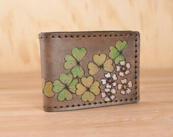 Leather Bifold Wallet - Mens or Womens - Lucky pattern with Shamrocks and Four Leaf Clovers - Handmade Bifold Wallet