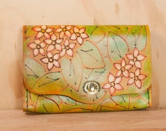 Leather Box Clutch - Persistence Pattern -  Wristlet Clutch or Waist Bag -  Flowers in Pink, green, antique tan - Nevertheless she Persisted