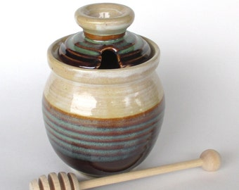 Honey Pot with Dipper - Pistachio Glaze
