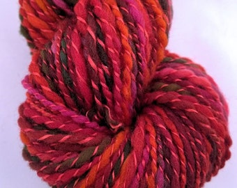 SILK POPPIES, handspun wool and silk chunky yarn, 108 yds/99 m, 1.6 oz/46 g