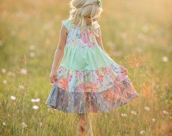 Girls Floral Dress -  Girls Dress -  Girls Flower Dress -  Girls Summer Dress -  Girls Sundress -  Flower Girl Dress - Girls Party Dress -