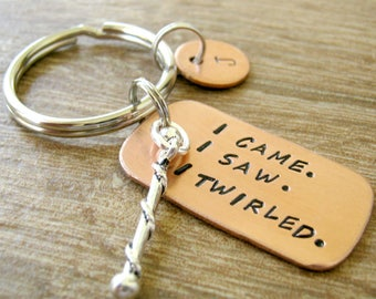 Baton Keychain, I Came I Saw I Twirled Baton Twirler Keychain, Marching Band Gifts, Marching Band Coach gift, Twirl Keychain